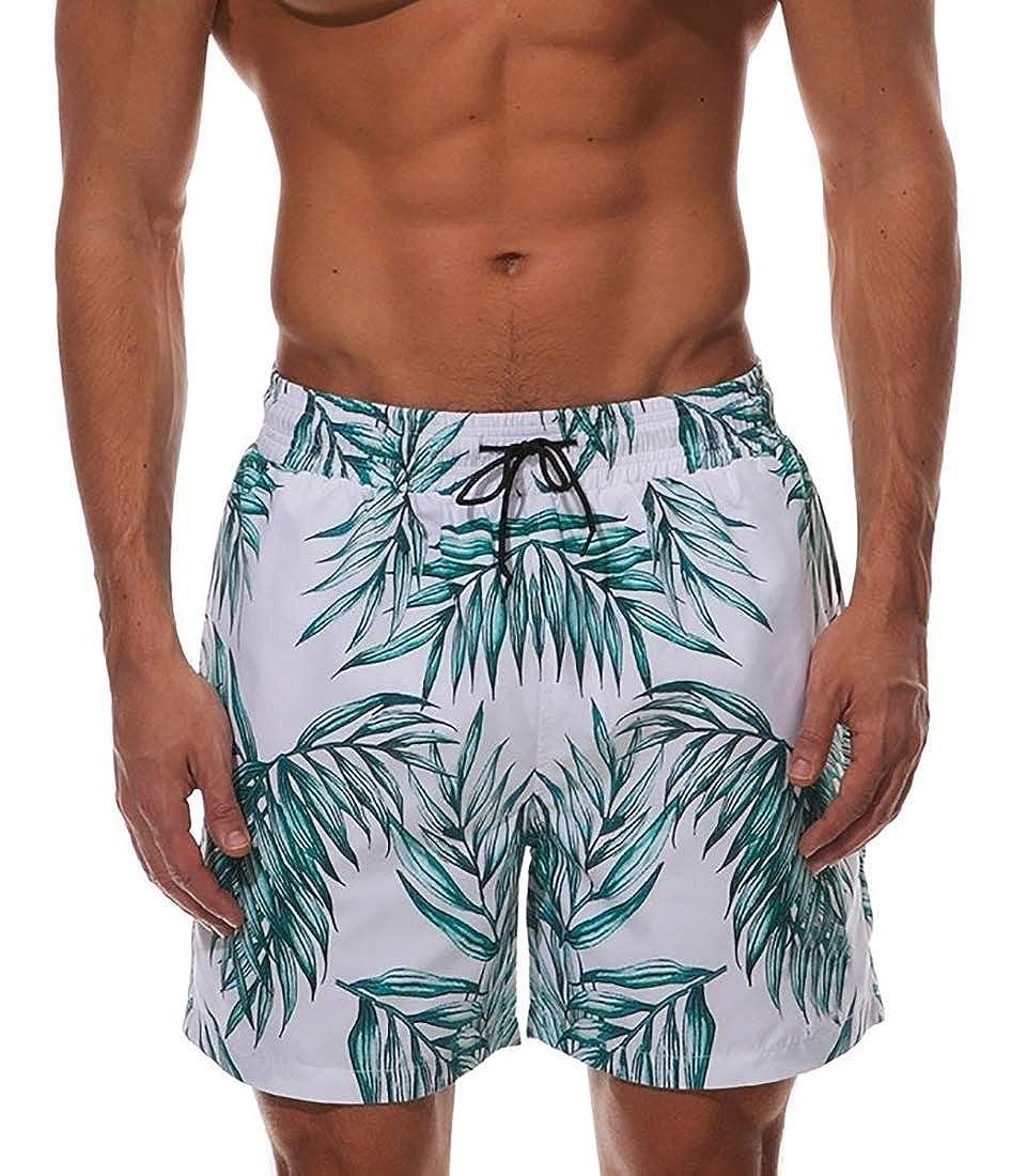 ZXFHZS Mens Swimming Trunks Drawstring Surfing Fashion Patterns Beach Shorts