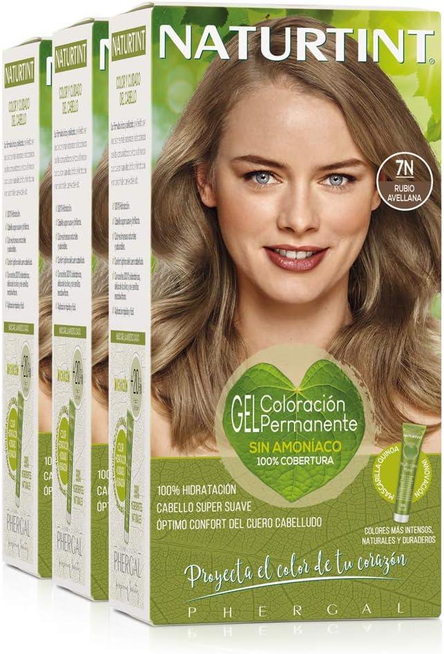 Naturtint Coloración 7N Rubio Avellana, 100% Cobertura de canas y Hidratación, Ingredientes Vegetales y Aceites 100% Biobotánicos, Color Natural y Duradero, Sin Amoniaco, Pack de 3.