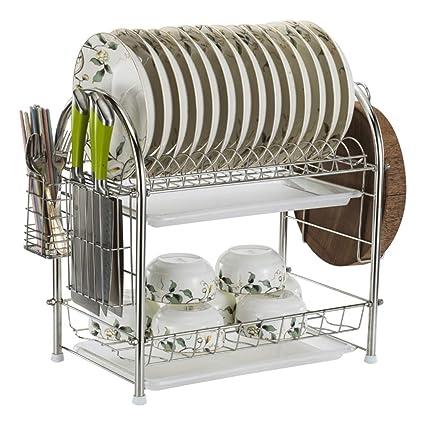 Plato de escurridor Compacto Plato de Cocina de 2 Niveles Plato de Secado de escurreplatos de