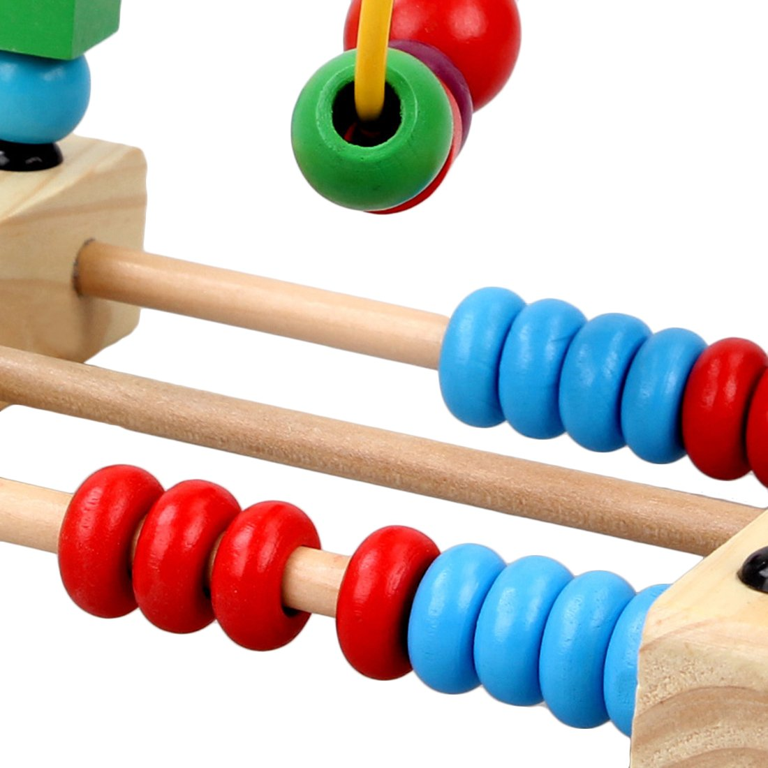 Vicoki Wooden Bead Maze Counting Toy for Babies Toddlers Roller Coaster Colorful Abacus Circle Toy