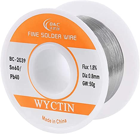60-40 Tin Lead Rosin Core Solder Wire for Electrical Soldering DIY 0.8mm 50g NEW