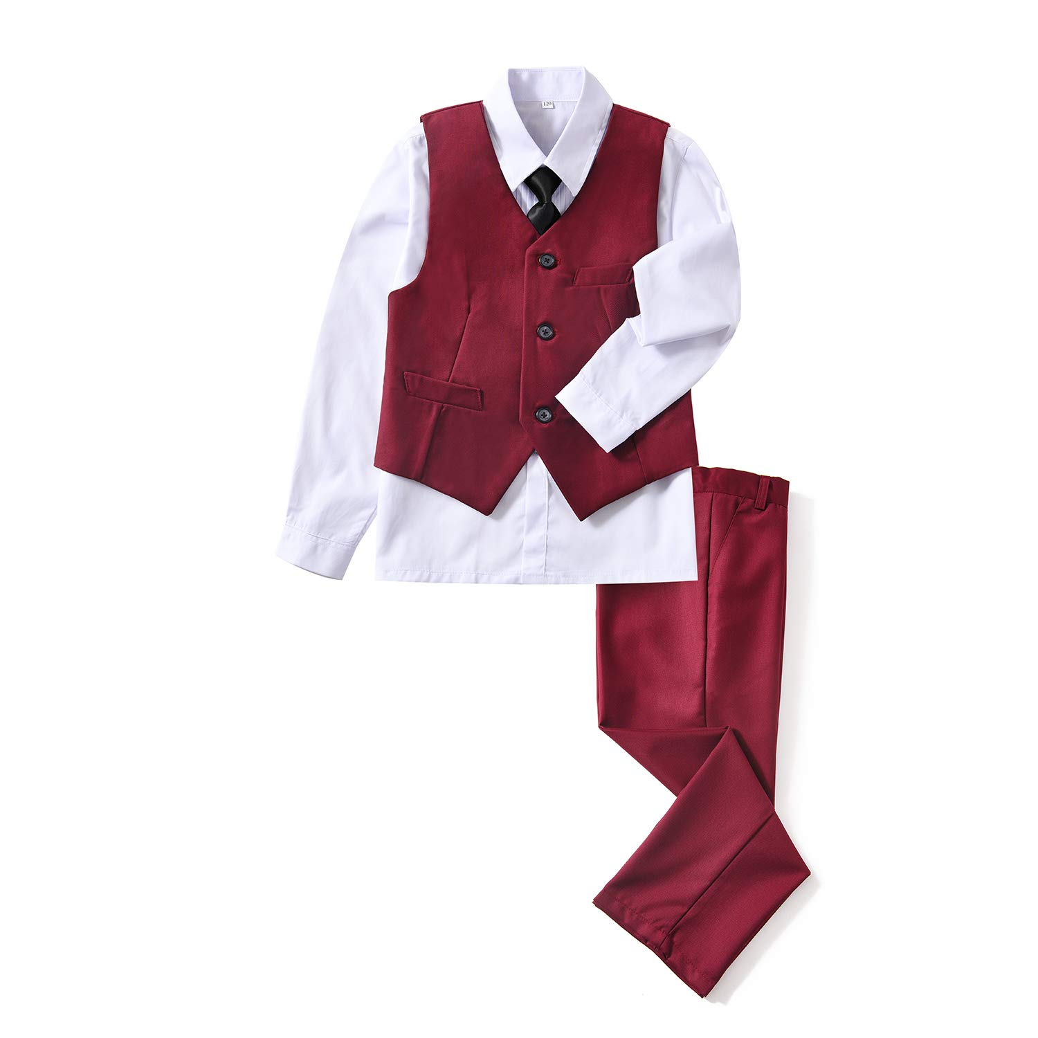 Yuanlu Boys 4 Piece Formal Suit Set with Burgundy Vest Pants White Shirt Tie for Wedding Size 8