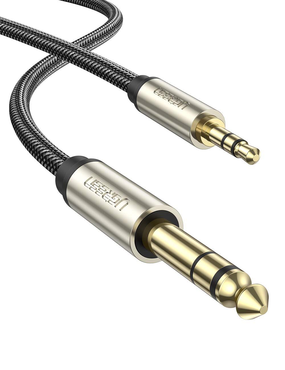 UGREEN Cable Jack 3.5mm a 6.35mm Macho a Macho, Cable Nylon Trenzado Audio Estéreo HiFi, Cable de Instrumento para Guitarra, Mezclador, Amplificador, Altavoces, Dispositivos de Cine en Casa, 2 Metros