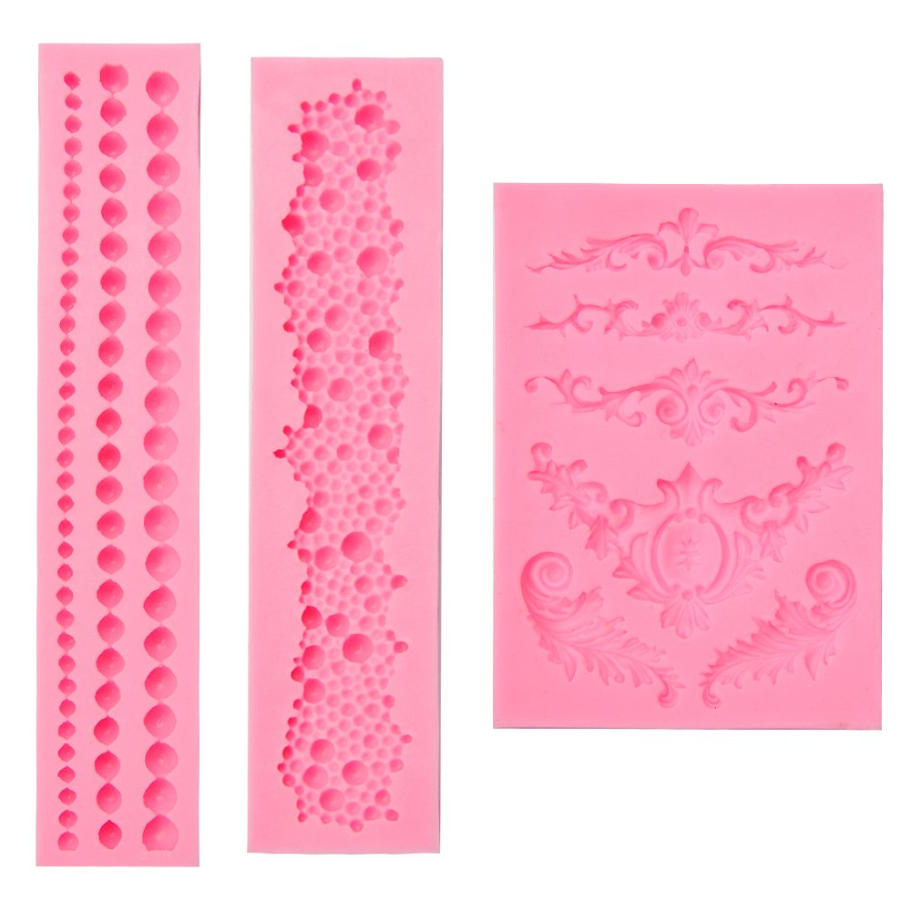 3-Pack 3D Cake Mold, Included Sculpted Flower Lace Mould, Pearl Fondant Sugar Paste Bead Mold