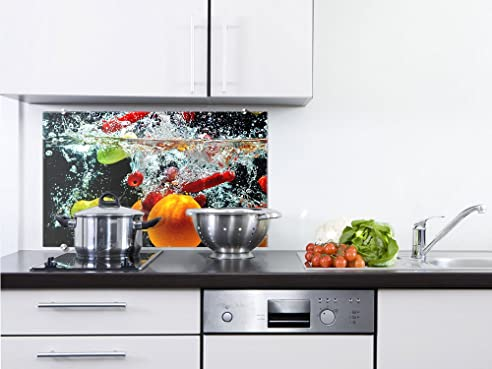 graz designspritzschutz glasbild für küche früchte im wasser