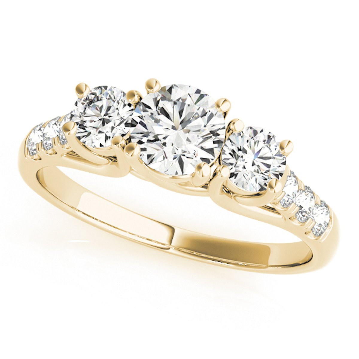 MauliJewels 1/2 Carat Engagement Ring Crafted In 14k Solid Yellow Gold by MauliJewels