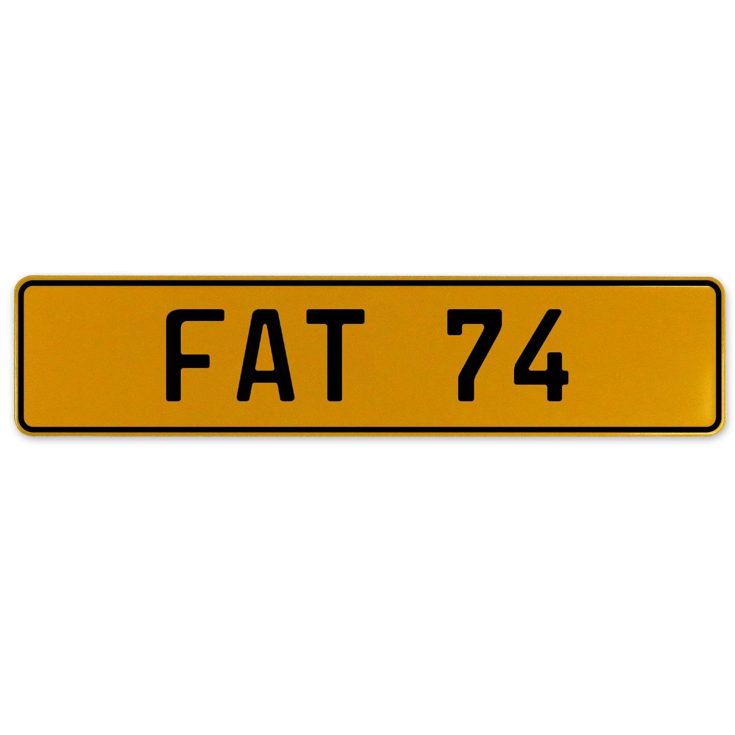 Fat 74 Vintage Parts 559621 Yellow Stamped Aluminum European Plate