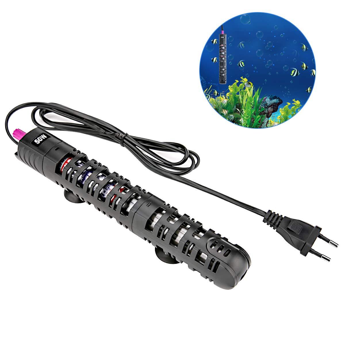 HOHOTO Chauffe-Eau d'aquarium DE 50 Watt pour l'eau Douce et l'eau salée, appareils de Chauffage avec Verre de Quartz antidéflagrant (220V, EU Plug)