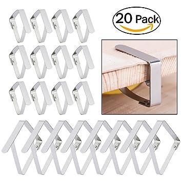 Pinzas del Mantel, JTDEAL 20 Piezas Clips de Acero Inoxidable para Sujeta el Mantel de Mesa de Jardín Firme y No se oxidan(Plata): Amazon.es: Jardín