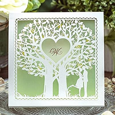 CYNDIE Hot Sale New Light Green Lovers Under Tree Wedding Invitations Cards with Envelopes Seals