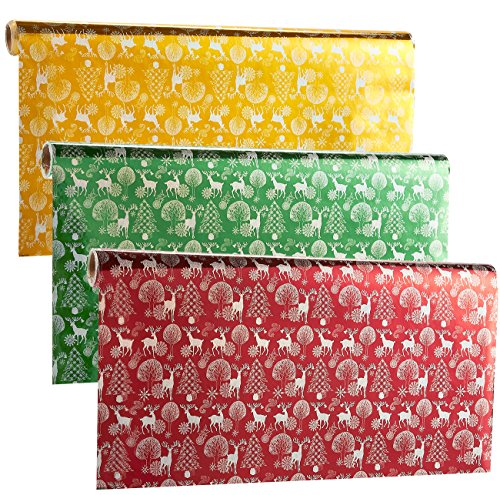 Gift Wrapping Paper Rolls, Pack of 3, Narrow and Long, Christmas Reindeer Wrapping Paper - Shiny Xmas Gift Wrap, 17 Feet x 1.4 Feet, Gold, Burgundy, Green (Christmas Gift Wrapping Paper)