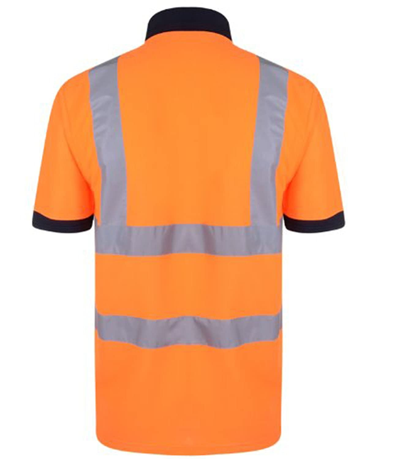 7378601e3 Amazon.com: Forever Hi Viz Navy Collar Safety Work Wear High Visibility 2  Tone Polo T-Shirt: Clothing