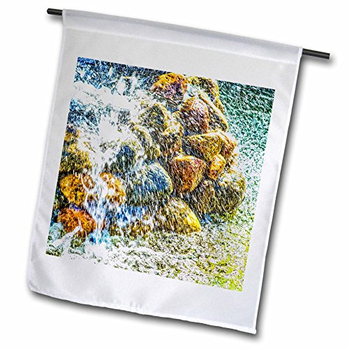 3dRose Alexis Photography - Objects - Fierce water sprays and jets over the stone pile. Fountain - 18 x 27 inch Garden Flag (fl_270876_2) by 3dRose