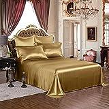 thxsilk 4pcs silk sheets set 100 19mm mulberry silk embroidery luxury bed linen metallic gold queen