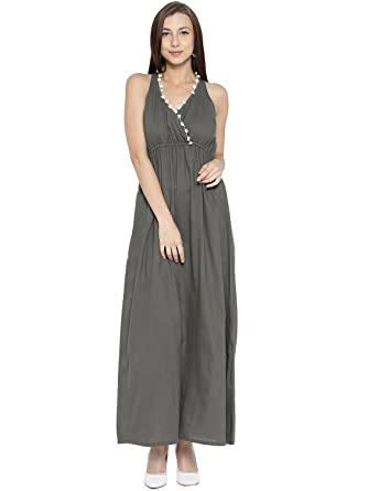 b2b8b77722a Image Unavailable. Image not available for. Color  Jaipur Kurti Women Solid  Maxi Dress ...