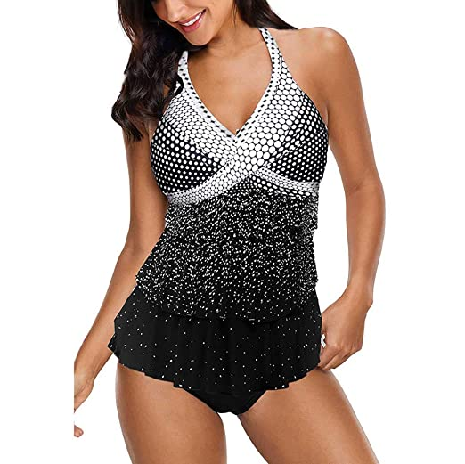 de7dd06792 Amazon.com: Women Tummy Control Tankini Sets,Jchen Ladies Swimsuits Polka  Dot Print Ruffle Swimdress with Bottoms Bathing Suits: Clothing