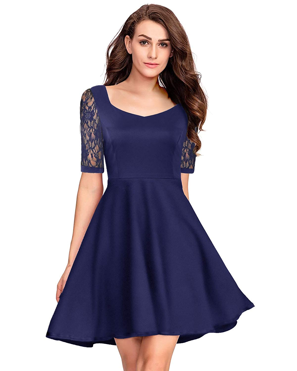 Navy bluee Pinup Fashion Women's Casual Lace Half Sleeves Dress Work Cocktail Party Swing Dresses