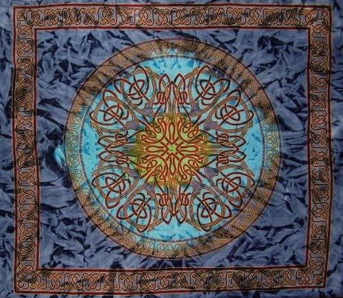 India Arts Celtic Circle Tie Dye Tapestry Cotton Bedspread 108 x 88 Full-Queen Blue