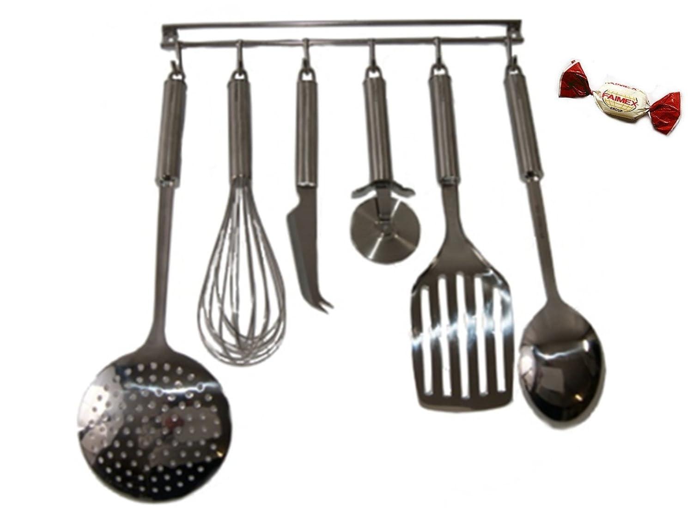 Küchenhelferleiste Küchenhelfer Set 7-tlg. Kochbesteck Set Edelstahl ...