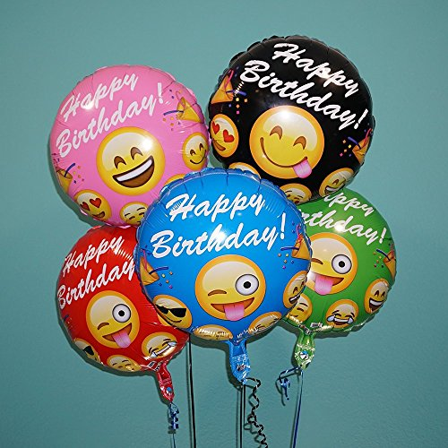 Emoji Balloon Happy Birthday Foil Helium Balloons pkg of 5