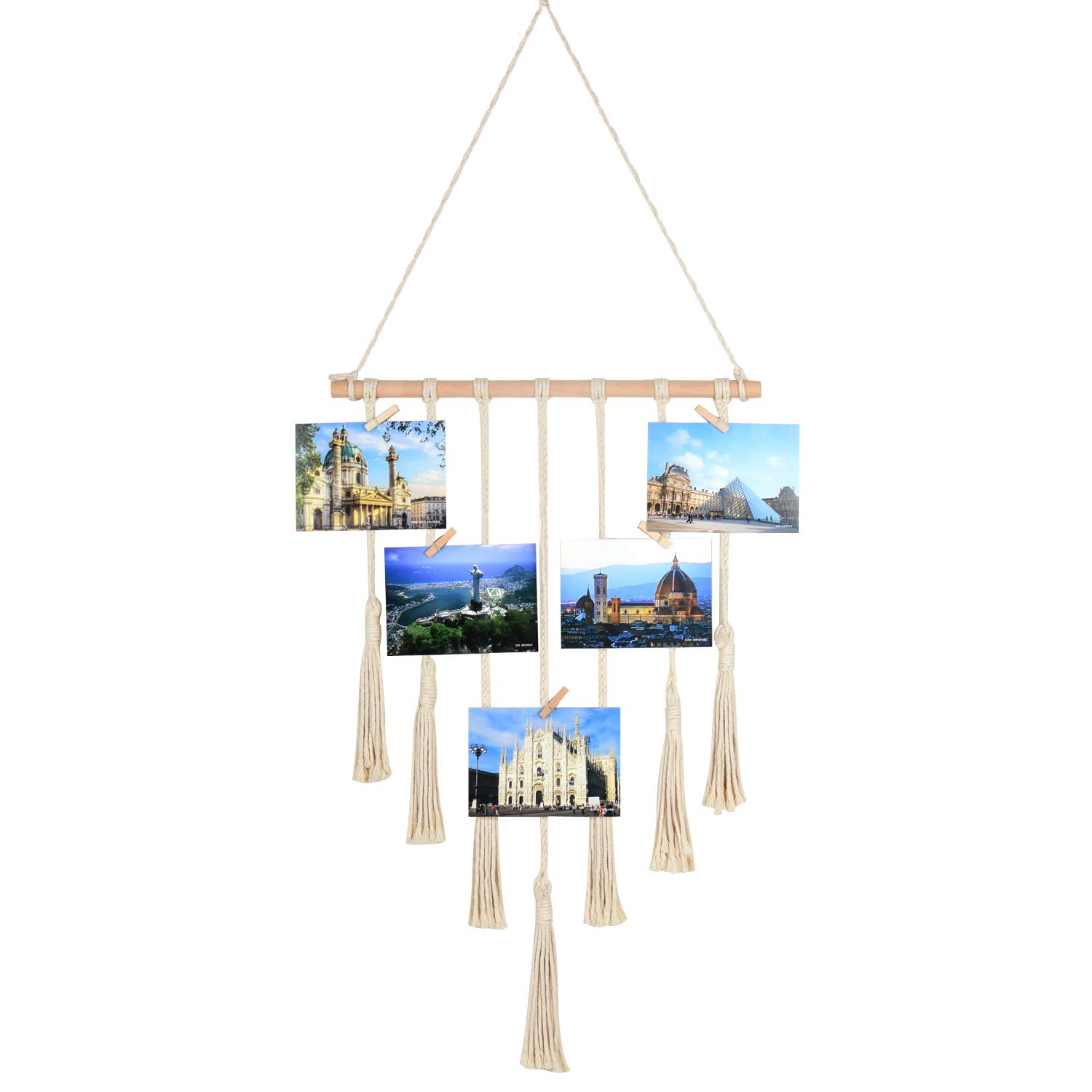 Seamersey Photo Hanging Display Frames Macrame Wall Hanging Pictures Organizer Home and Wall Decor with 25 Wood Clips(Beige)
