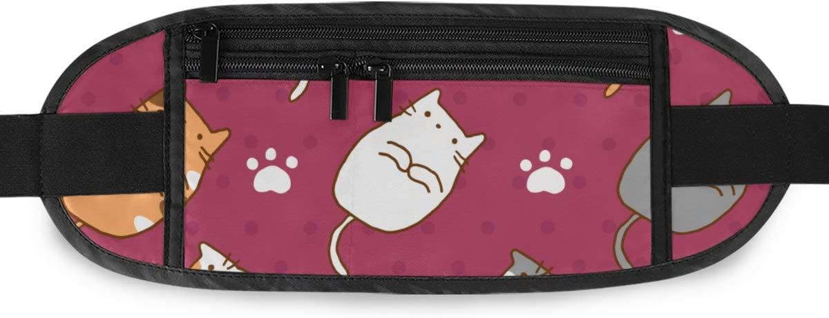 Pattern Cute Cats Running Lumbar Pack For Travel Outdoor Sports Walking Travel Waist Pack,travel Pocket With Adjustable Belt