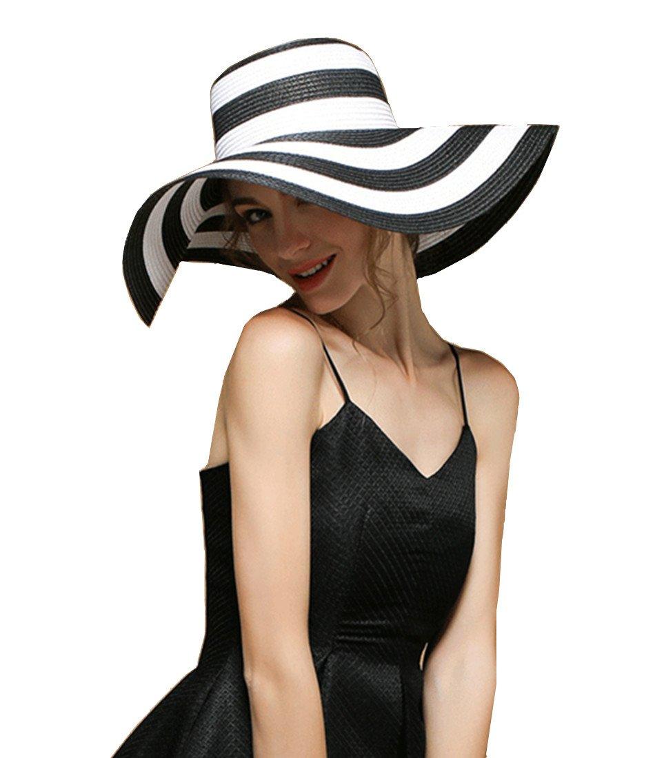 Women's Beachwear Sun Hat Striped Straw Hat Floppy Foldable Big Brim Hat Cap (Black&White)