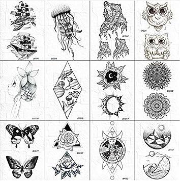 Negro Falso Tatuaje Pegatinas Hombres Diamante Universo Sol ...