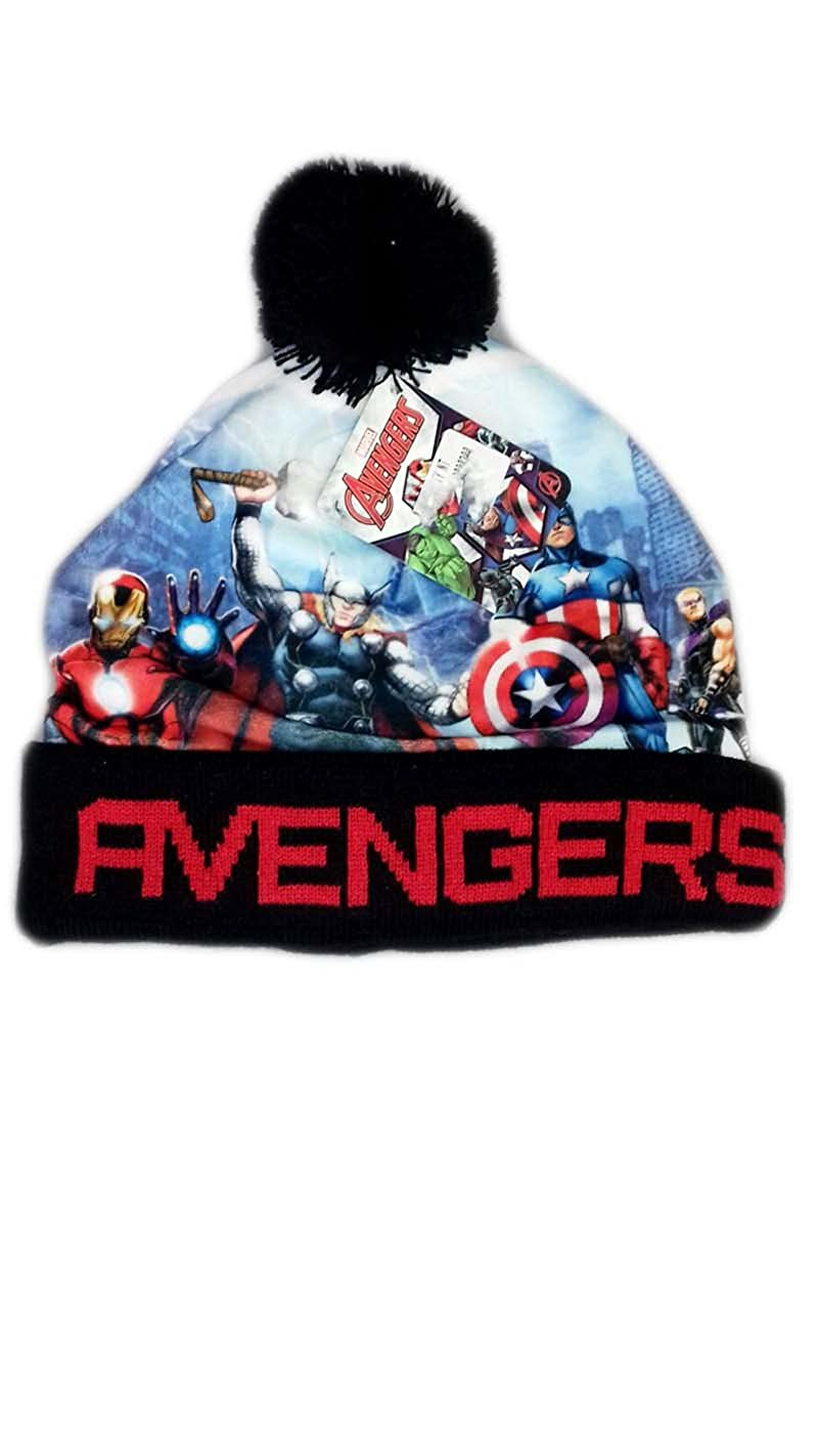 Cappello cappellino pon pon bimbo bambino Avengers nero TG 54
