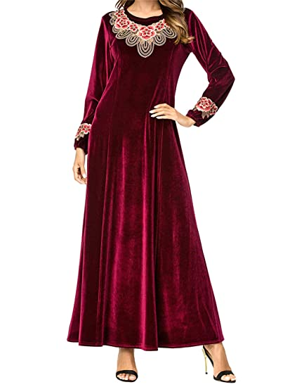 Femmes Loose Rouge Maxi Dress-Elégantes Robe Musulmane Vintage Velvet Longue  Robe Arabe(M 321d9b52bb2