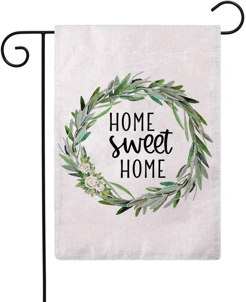 ULOVE LOVE YOURSELF Home Sweet Home Garden Flag with Wreath Vertical Double Sided House Yard Outdoor Flags Spring Summer Seasons Home Decor Flag 12 x 18 Inch
