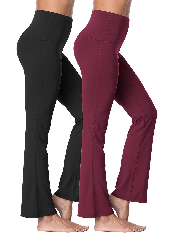 106  Black Burgundy, 2 Pack Neleus High Waist Running Workout Leggings for Yoga with Pockets