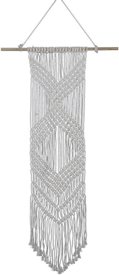 WINOMO Macrame Tapiz Tapiz Tejido Bohemia tapicer/ía geom/étrica decoraci/ón de Arte de la Pared 90 X 25 cm Beige