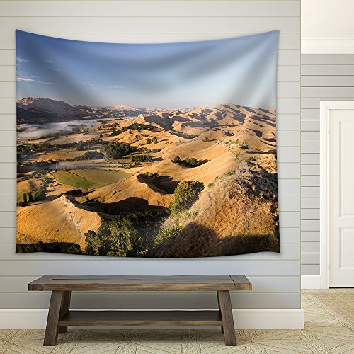 Landscape of Desert Hill with Oasis Under Sky Fabric Wall