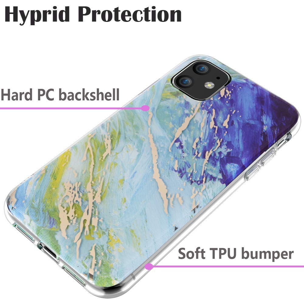 BSLVWG Compatible with iPhone 11 Case,Ultra-Thin Marble Stone Pattern Hybrid Hard Back Soft TPU Raised Edge Slim Protective Case ShockProof Cover for iPhone 11 6.1 inches 2019 Released Pink//White