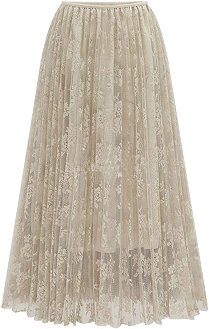 ZhuiKun Mujer Maxi Faldas Largas Elegante Plisada Faldas de Fiesta ...