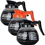 BUNN Regular and Decafe Glass Coffee Pot Decanter / Carafe, 12 Cup, 2 Black and 1 Orange, Set of 3