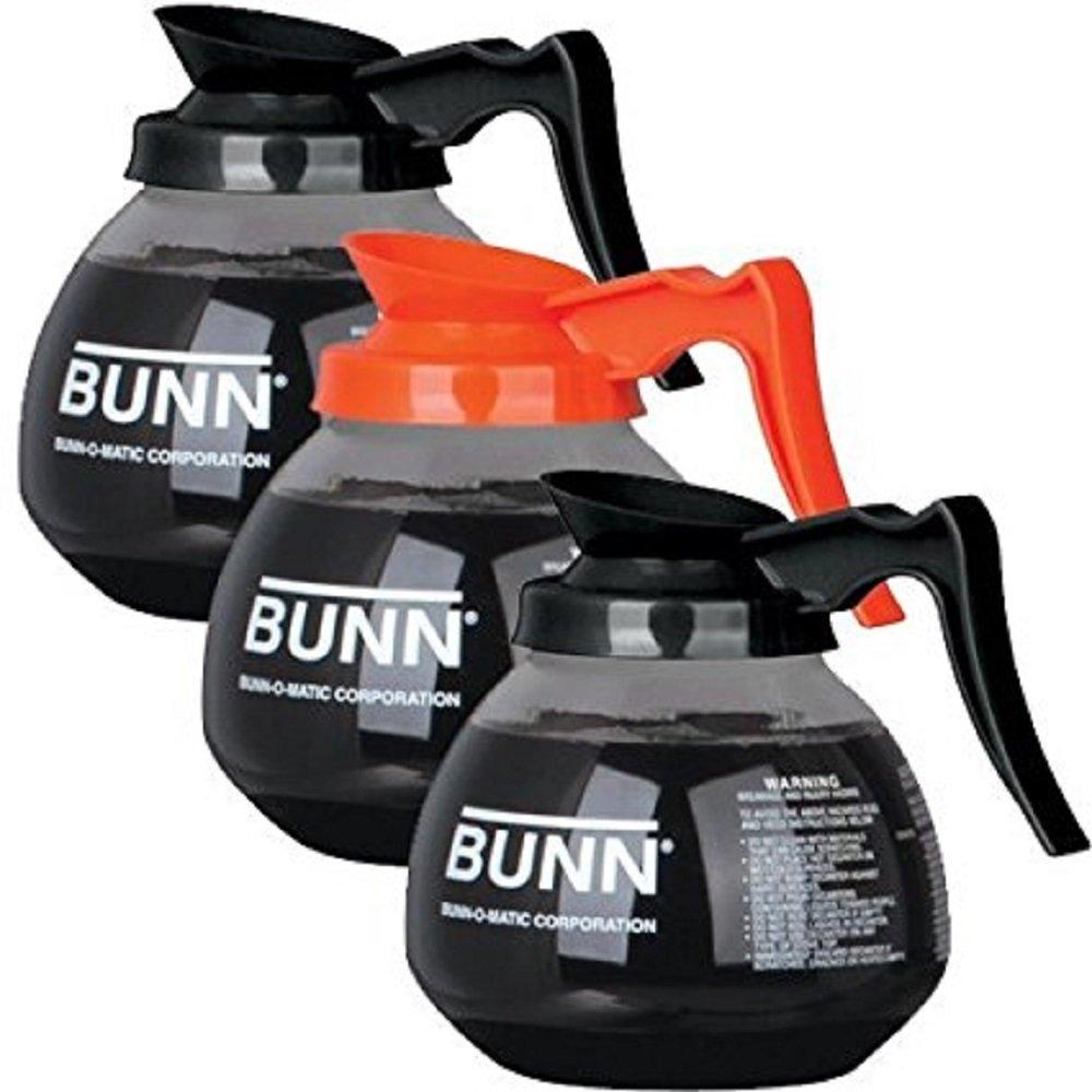 BUNN Regular and Decaf Glass Coffee Pot Decanter / Carafe, 12 Cup, 2 Black and 1 Orange, Set of 3