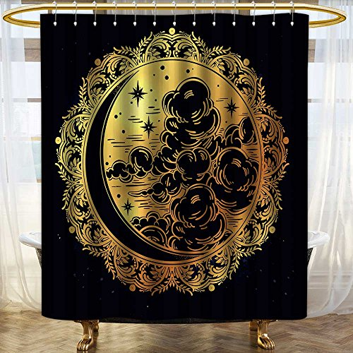 (Printsonne Bath Curtain Water Repellent Mold Intricate hand drawn ornate crescent moon with stars and clouds Isolated Vector for Home or Hotel Decoration Mildew Resistant for Bathroom/W72 x L96)