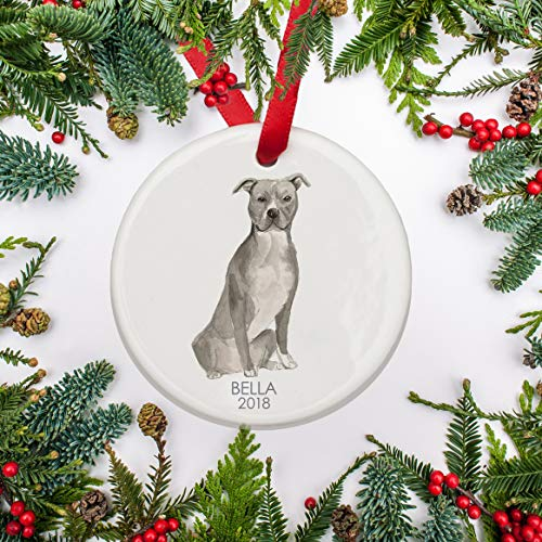 (Pittbull Staffordshire Christmas Ornament, Personalized Dog Ornament, Pitbull for Dog Lovers Pet's First Christmas Family Dog)