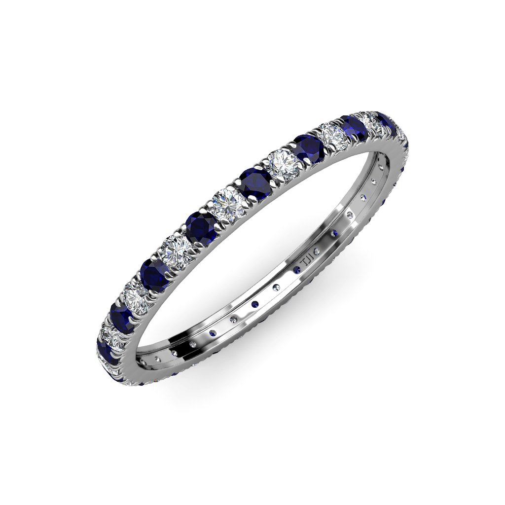 Blue Sapphire and Diamond French Set Eternity Band 0.82 ct tw to 0.98 ct tw in 18K White Gold.size 7.0