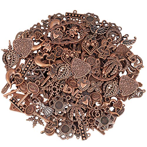 SUNYIK Vintage Red Copper Plated Loose Spacer Charms for Jewelry Making DIY 0.5lb (230 Grams),0.4