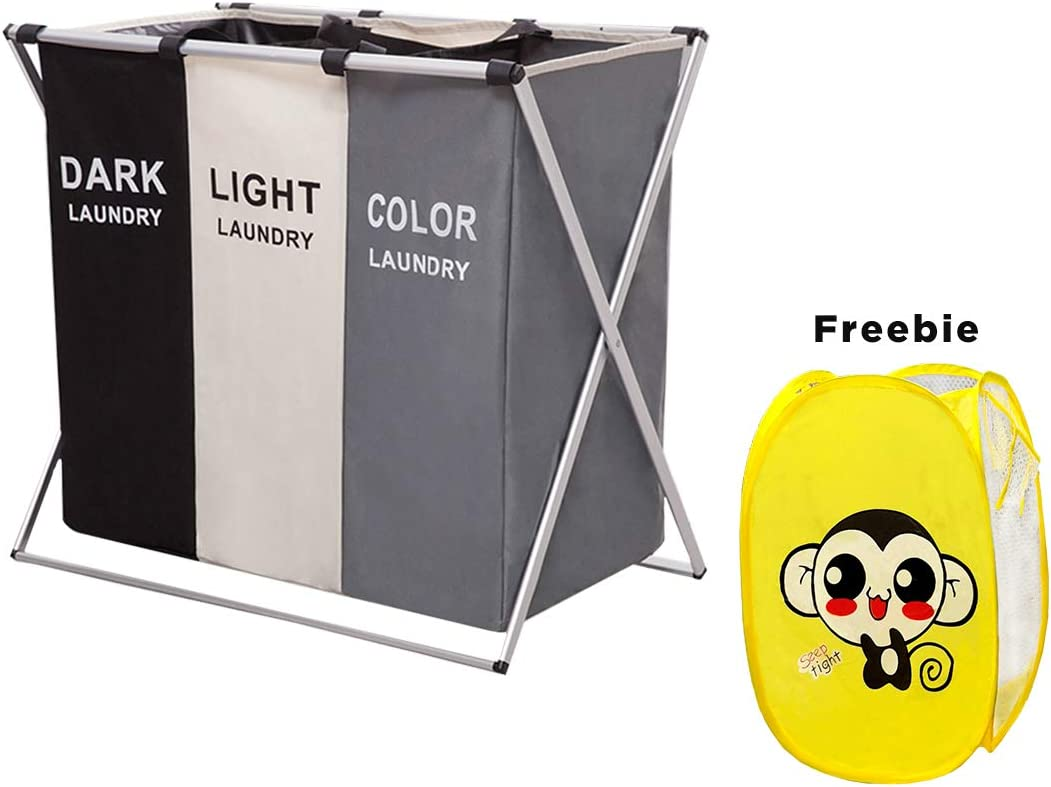 HUNTINGOOD Laundry Basket 3 Sections,Large Dirty Clothes Laundry Bag, Sorter for Bathroom, Foldable Laundry Hamper,Divided, Multicolor (with Yellow Monkey Gift)
