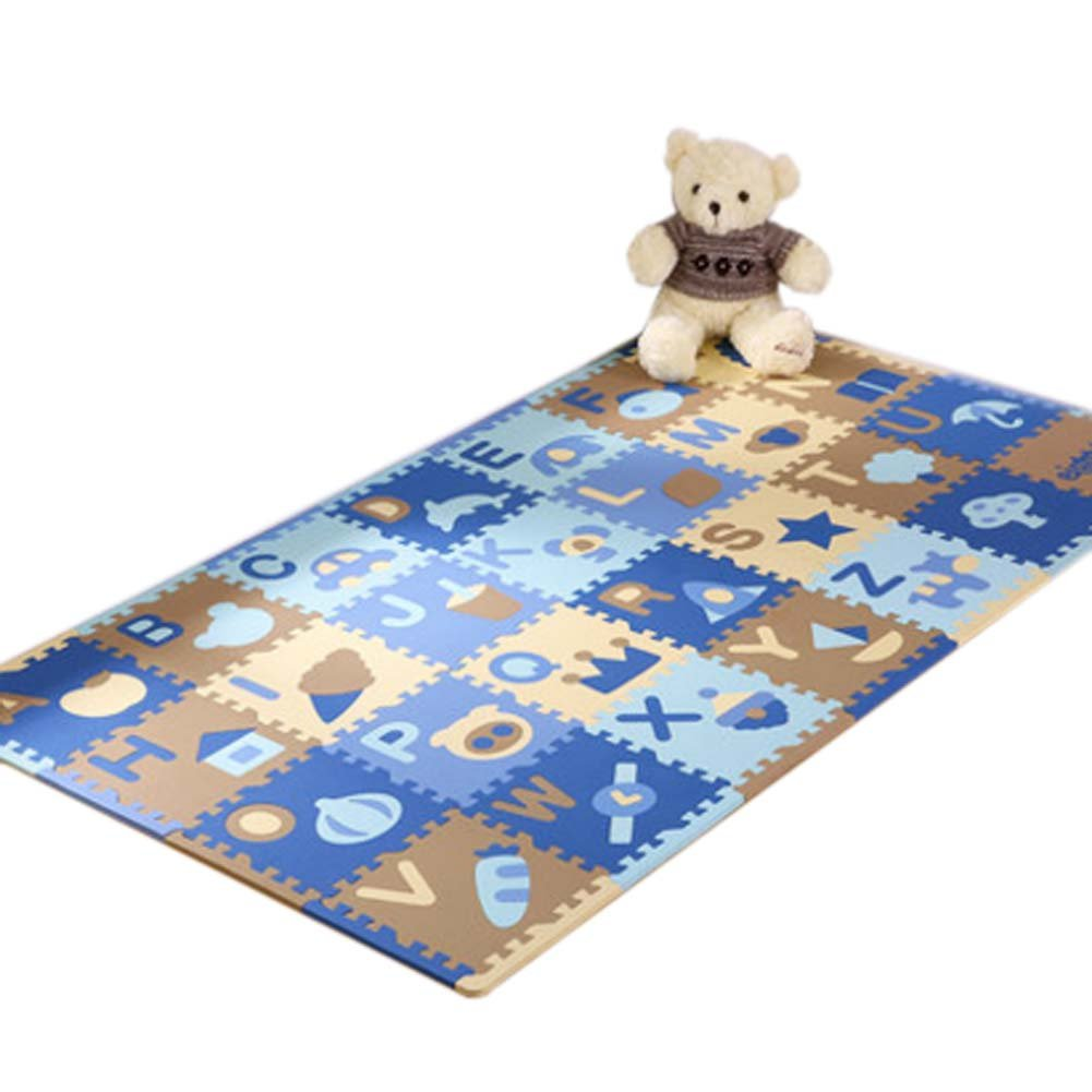 28 Pieces of Waterproof Children Foam Mats Baby Foam Puzzle Play Mat, Dark Number George Jimmy