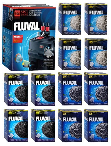 Fluval 306 A212 Filter w/ Carbon, Ammonia Remover & Zeo-Carb 12mo by Fluval