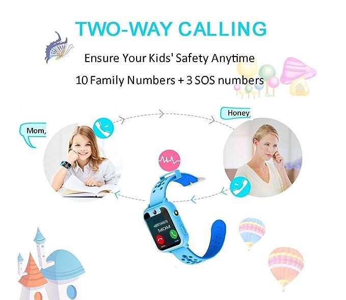 Reloj Inteligente para Niños, GPS/LBS para Niños Cumpleaños Presente Cámara SIM Llamadas Toque HD Pantalla Anti-pérdida SOS Despertador Smartwatch Pulsera ...