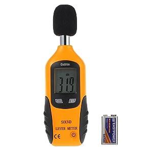 Cadrim Sonómetro Digital Medidor de Sonido Decibelímetros de 30 dBA-130 dBA con Pantalla LCD y Batería Incluida