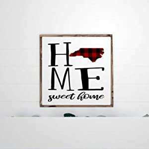 DONL9BAUER Framed Wooden Sign North Carolina Wood Sign, Home Sweet Home Wall Hanging Nc State, Buffalo Plaid Print Farmhouse Home Decor Wall Art for Living Room