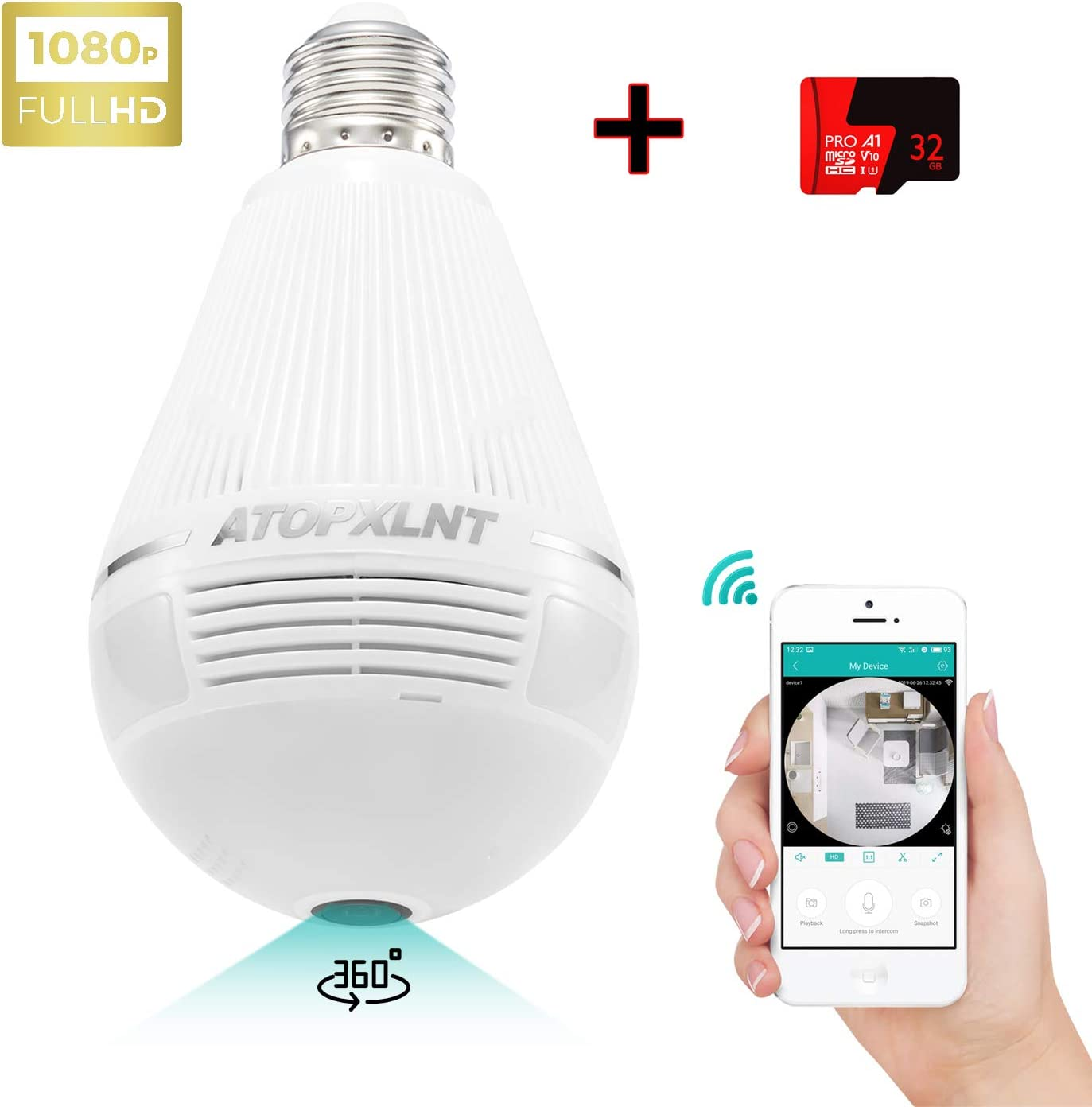 ATOPXLNT Light Bulb Camera WiFi Outdoor Indoor Panoramic IP Security Surveillance System 360 Degree Smart 3D VR 1080P HD Home Camera 2MP Wireless LED Night Vision Cam Motion Detection with 32G SD Card