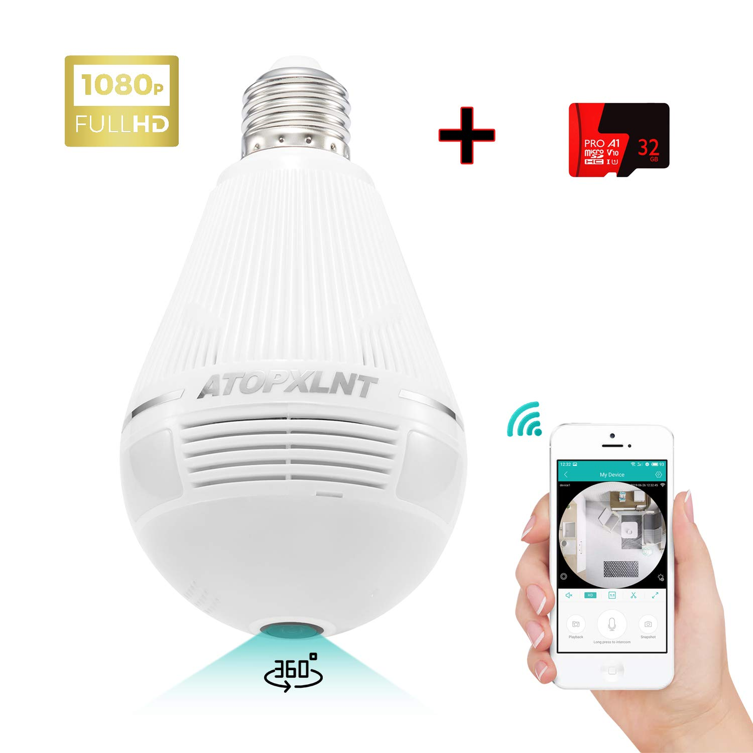 ATOPXLNT Light Bulb Camera WiFi Outdoor Indoor Panoramic IP Security Surveillance System 360 Degree Smart 3D VR 1080P HD Home Camera 2MP Wireless LED Night Vision Cam Motion Detection with 32G SD Card by ATOPXLNT